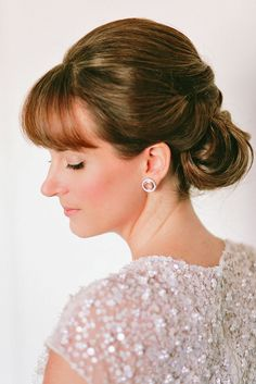 Chic Wedding Hairstyles With Bangs ❤ See more: http://www.weddingforward.com/wedding-hairstyles-with-bangs/ #weddings