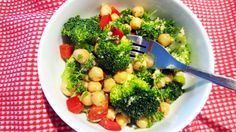 Vegan Broccoli, Red Bell Pepper & Chickpea Salad | Vegangela. Except no oil. Or maybe applesauce would be interesting with the mustard....or apple cider vinegar.