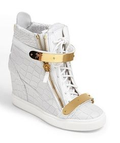 'Lorenz' High Top Wedge Sneaker via Luxury store. Click on the image to see more!
