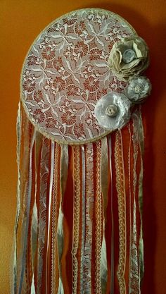 Lace dream catcher shabby chic decor lace by ConsciousEarthCreate