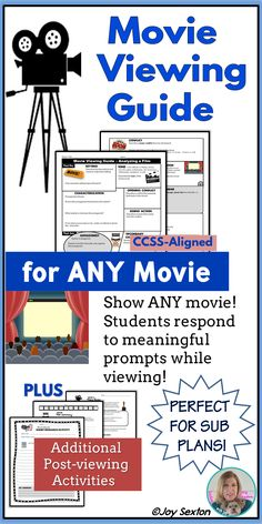 Show any movie while students practice meaningful skills! These eye-catching movie response pages allow you to comfortably show a movie knowing students are analyzing topics such as setting, characterization, tone, mood, conflict, and theme. Perfect if you are between units or in need of a quick and easy sub plan that students will love! Also includes three additional movie-related activities great for homework or differentiation.