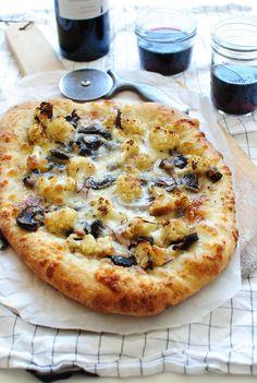 Roasted Cauliflower and Mushroom Pizza
