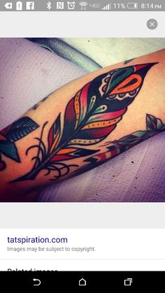 American traditional feather tattoo