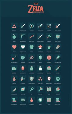 Zelda Ocarina of Time flat icons