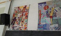 gigantografias montadas en tela plastica a partir de una produccion colectiva donde todos los niños aportaban a las figuras y al fondo