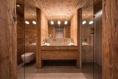 Chalet Mckinley is a beautiful villa for rent in Zermatt, Switzerland. View info, photos, rates here. Swiss Ski, Swiss Chalet, Zermatt, Luxury Ski Holidays, Alpine Style, Steam Room, Urban Design, Tub, Bathroom