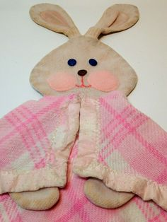 Fisher Price Bunny Rabbit Security Blanket Pink Plaid Satin Trim #443 Lovey Vtg #FisherPrice Bunny Blanket, Baby Security Blanket, Rabbit Baby, Vintage Fisher Price, Zoo Animals, Little People, Awesome Stuff, Satin, Plaid