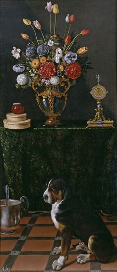 8 Juan van der Hamen Bodegón con florero y perro prado.jpg