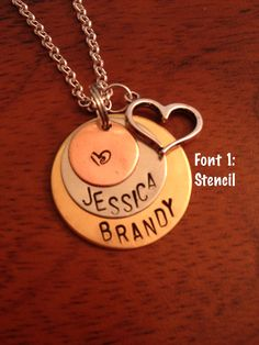 Personalized Hand stamped Layered Necklace with the Stencil Font  https://www.etsy.com/listing/155612170/personalized-layered-hand-stamped?ref=listing-shop-header-2