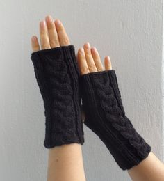 Black knitted gloves Black mittens Black by HelenKurtidu on Etsy, Fingerless Gloves Knitted, Winter Accessories, Black Knit, Arm Warmers, Mittens, Gifts For Her, Magic, Night, Knitting