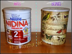 Bote de leche con decoupage - Hucha Babymilk tin with decoupage - Money Save