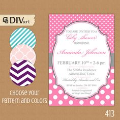 "PRINTABLE 5x7"" Baby Shower Invite, Bridal Shower Invitation, Engagement Party Invitation - grey, pink - polka dots by DIVart on Etsy, $12.00"