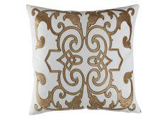 Mozart Decorative White Linen / Straw Velvet (24 x 24) L277SWST