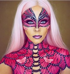 Pink Butterfly. Fantasy Transformations for Halloween with Body Paint. By Jade Deacon.