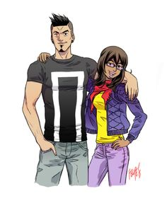 Just kickin' it. Kamala Khan & Robbie Reyes by Felipe Smith.