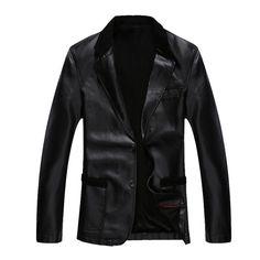 Men'S Fashion Washed Leather Jacket Velvet Padded Suit Collar Slim Leather Coat New 2014 Winter Thick Warm Leather Jacket H2173