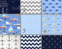 All Hands on Deck (Baby Bedding Crib Set) Anchors Whales Sailboats Navy Blue Nautical Crib Bedding