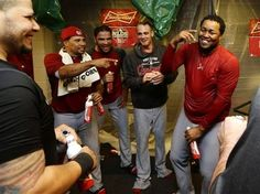 Game 5 of the NLDS- Cardinals celebrate after the game.  NLDS champs!!!!  10-12-12