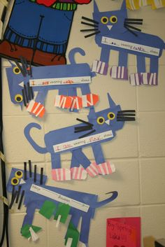 "LOVE Pete the Cat, definitely my new favorite children's book! ""The moral of Pete's story is: No matter what you step in, keep walking along and singing your song. Kindergarten Writing, Classroom Crafts, Kindergarten Literacy, Literacy Activities, Primary Classroom, Teaching Writing, Teaching Ideas, Classroom Ideas, Color Unit"