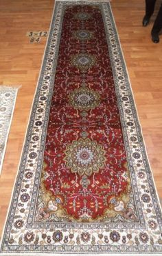 3'x12' Runner Hand-knotted 200 kpsi Silk Oriental Persian Tabriz Rug 842
