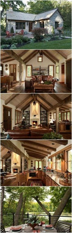 Minnesota design company, Murphy & Co., helped with the concept and construction of this one-of-a-kind 860 square foot home near Lake Minnetonka and the result is unbelievable. I like the size but would do a different style. Tyni House, Tiny House Living, Cozy House, House To Home, Tiny House Cabin, Living Room, House Ideas, Cabins And Cottages, Small Cabins