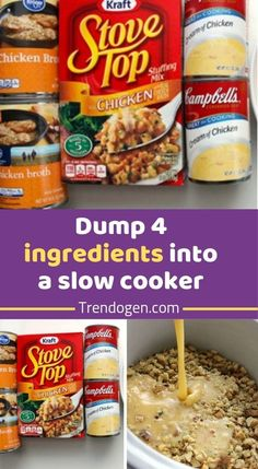 Dump 4 ingredients into a slow cooker. End result is a hearty, tasty chicken and stuffing - Recipes Dump 4 ingredients into a slow cooker. End result is a hearty, tasty chicken and stuffing - Recipes Crockpot Stuffing, Crockpot Dishes, Stuffing Recipes, Crock Pot Cooking, Crockpot Recipes, Chicken Recipes, Stove Top Stuffing, Chicken Stuffing, Turkey Recipes