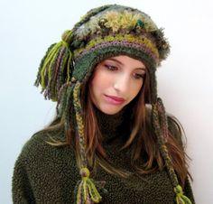 FOLK ART INSPIRED CROCHETED HAT IN OLIVE GREEN 02bdb302b7742