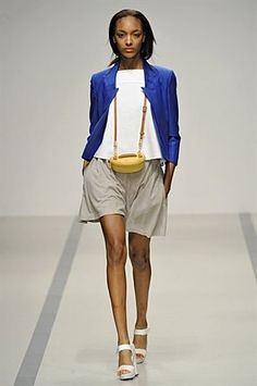 Cobalt is EVERYWHERE . this blazer is a knockout so color block with neutrals to avoid blinding fellow pedestrians