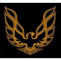 pontiac firebird logo painted on passenger side, large