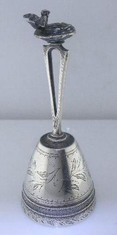 VERY RARE Sterling GORHAM Table Bell - BIRDS NEST 1865