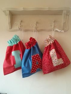Used up some fabric scraps from my stash to make these pretty drawstring bags.