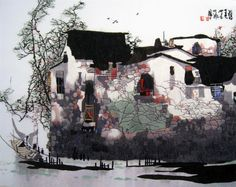 """Watercolored Suzhou Canal Dock #Beautiful #Handmade #Silk #Embroidery #Art 87207 http://www.queensilkart.com/100-handmade-embroidery-framed-landscape-watercolored-suzhou-canal-dock-4050-7-87207/ Ancient houses in Suzhou's """"Old Town"""" district are quite singular. Whitewashed walls, grey tile roofs, brown timbers & a small pier. The canals are the streets, boats are the cars & the piers serve as kitchen annex, laundry & shopping center, vendors travel from house to house every day."""