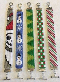 Christmas themed bracelets. Japanese glass seed beads. Nickel free clasps. Handmade by Jen. Please specify desired length when ordering.
