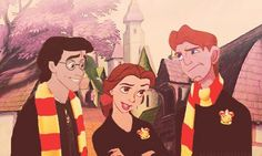 If disney made harry potter.   Harry= Prince Eric  Ron= Hercules   Hermione= Belle
