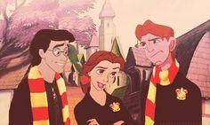Harry Potter meets Disney.  Harry = Prince Eric  Hermione = Belle  Ron = Hercules
