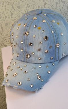 f97485ab23b Distrressed handmade rhinestone full summer outdoor women s baseball cap  sun shading denim cap-inBaseball Caps