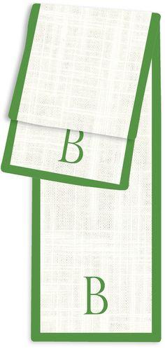 1-Letter Block Cream and Emerald Monogram Table Runner