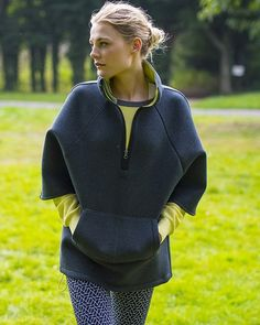 Statement oversized cape from Sweaty Betty in neoprene-feel fabric with ruched high collar, wide sleeves and side drawcord for a customisable fit. Crafted from double faced bonded jersey, this on-trend cape is hard-wearing and perfect for transitioning between the street and the studio. Available online from the new Sports Luxe collection for £135.