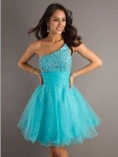 Front: A-line One Shoulder Paillette Sleeveless Short/Mini Tulle Dress