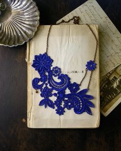 lace necklace // MIHARA // sapphire blue // cobalt // vintage