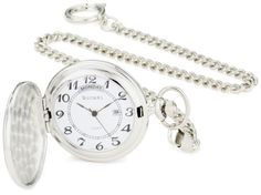 "Bucasi PW1000SS Easy to Read Numbers Silver Tone Chain Pocket Watch Bucasi. $44.00. Black large easy to read number with white dial 42mm case. Pocket watch silver-tone fancy design hunting case engravable. Includes curb style 14"" pocket watch chain with spring ring. Pocket watch comes in gift box with 1 year warranty. Japanese Quartz movement calendar day and date. Save 56%!"