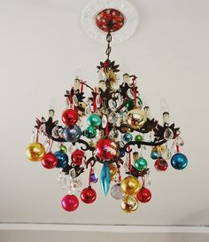 Christmas bulbs hanging from a Chandler