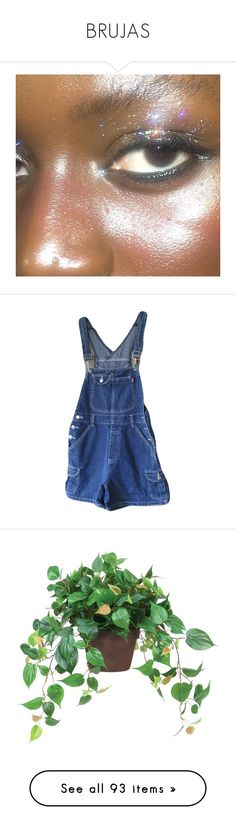 """""""BRUJAS"""" by brownbxtchpinkwitch ❤ liked on Polyvore featuring makeup, pic, jumpsuits, rompers, overalls, shorts, bottoms, dresses, blue overalls and blue rompers"""