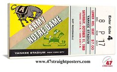 Football Art. Coming soon. 1969 Notre Dame vs. Army Football Art on canvas. The game was played at Yankee Stadium. Made from an authentic '69 Army football ticket. Perfect game room or office college football art!