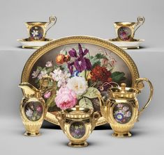 Porcelain by Sevres porcelaine factory, circa 1814-1817, of hard-paste porcelain with enamel and gilt decoration. Painted by Georgius Jacobus Johannes van Os (Dutch), Denis-Desire Riocreux (French), Gilded by Denis-Joseph Moreau (French) and Charles-Marie-Pierre Boitel (French) | Philadelphia Museum of Art