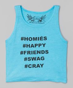 Love this Turquoise Hashtag Crop Tank by So Nikki on #zulily! #zulilyfinds