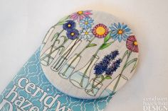 #Flower Vases Fabric Badge Large Badge Pin Badge Fabric Covered Button Mothers Day Gift Ceridwen Hazelchild Design