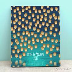 Paper Lanterns Guest Book - Paper Lanterns Personalized Wedding Invitations - Peachwik
