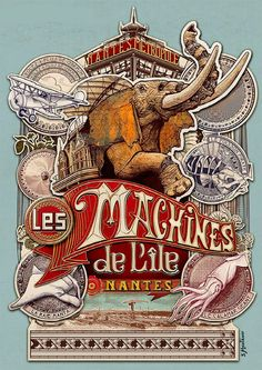 Nantes: Collection de posters des Machines de l'Ile – Expolore the best and the special ideas about Vintage logos Retro Poster, Circus Poster, Poster S, Vintage Advertisements, Vintage Ads, Vintage Posters, Logo Vintage, Jules Verne, Elephant Nantes