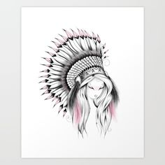Indian Headdress Pink Version Art Print  #art #society6 #loujah  #boho #bohochic  #illustration #draw